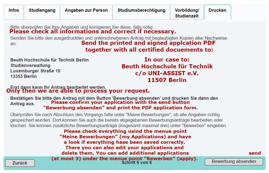 Admission Application Beuth Hochschule 13 11
