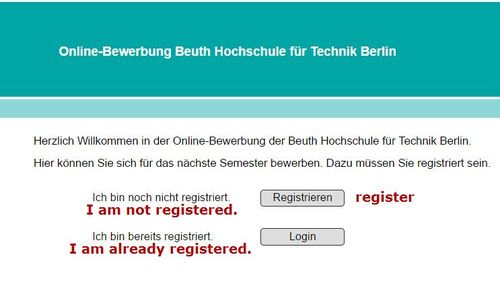 Admission Application Beuth Hochschule 3