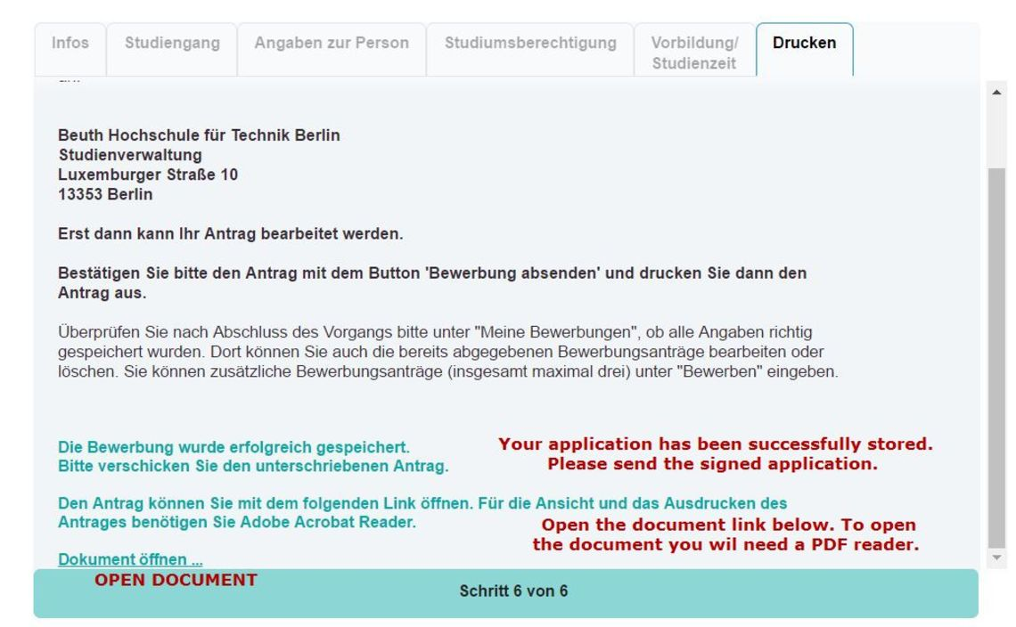 Admission Application Beuth Hochschule 15