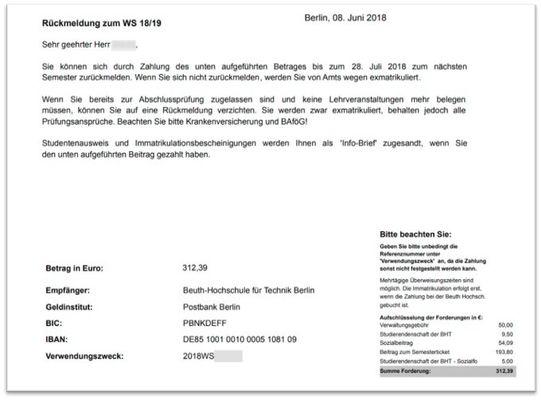 Beuth Hochschule Exmatrikulation
